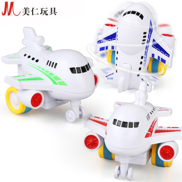 Candice guo plastic toy model cartoon airplane inertia driving move plane mini aircraft baby Christmas present birthday gift 1pc