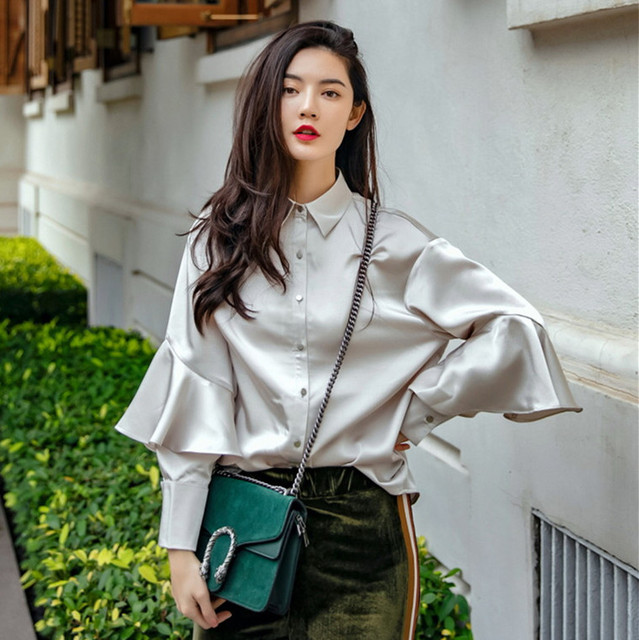 3e17ae23478428 Cakucool New Design Women Silk Blouse Long Sleeve Shirt Silver White  Ruffles Blusa Grey Korea Elegant Loose Women Blouses Top