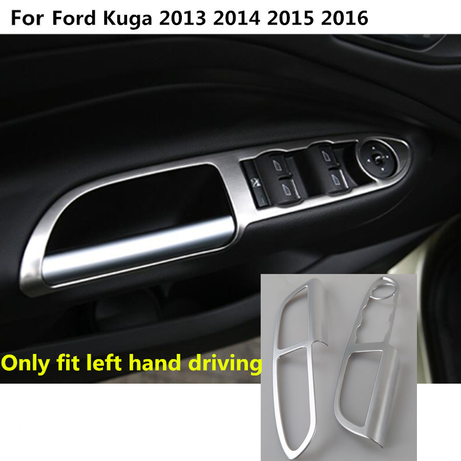Car abs chrome only front door window glass switch panel trim frame armrest handrail 2pcs part for ford kuga 2013 2014 2015 2016