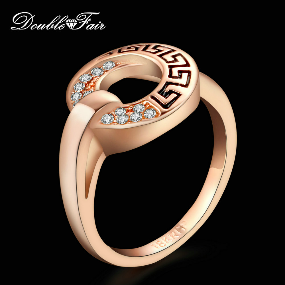 Double Fair CZ Stone Rings Rose Gold Color/Silver Tone Cubic Zirconia Ring Fashion Anniversary Jewelry Women DFR221 - DOUBLE FAIR Official Store store