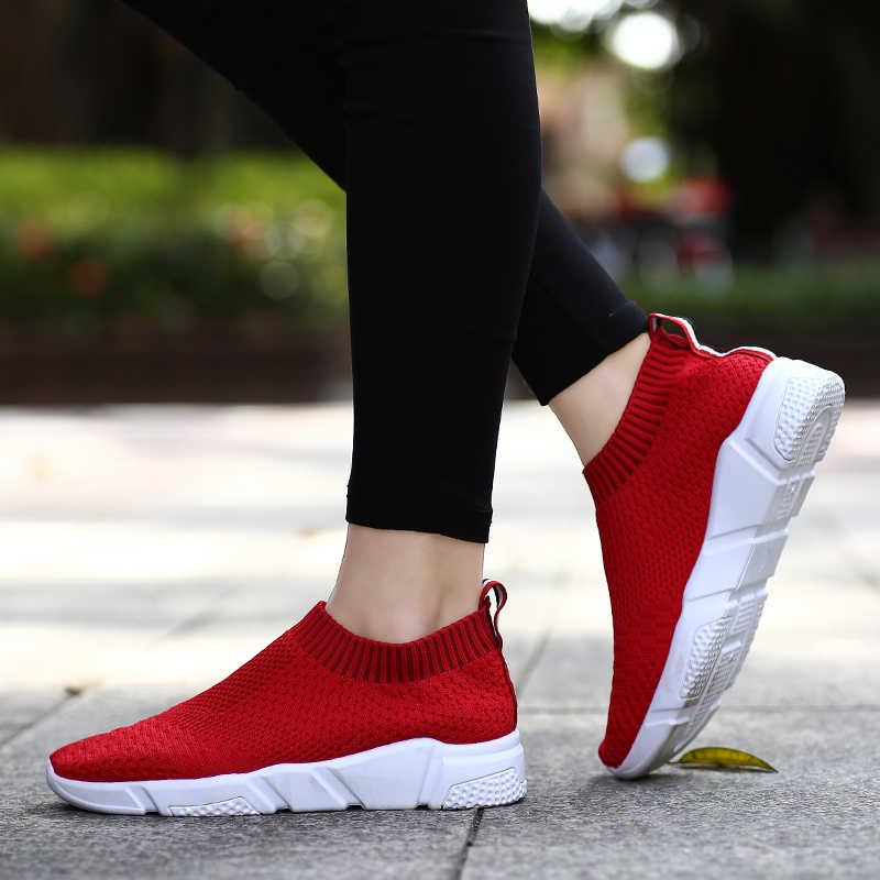 220a4d61 ... LUONTNOR Носки пружина кроссовки женские дышащие сетчатые кроссовки  женские слипоны красные носки Спортивная обувь на плоской ...