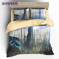 AHSNME HD 3D Interstell Bedding Sets Sci Fi Space Themed Duvet Cover Set Pillowcase AU US