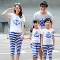 2016 Summer Family Mother And Son Matching Outfits Short-Sleeved Anchor Striped T-Shirt + Pants 2 Pcs Clothing Set