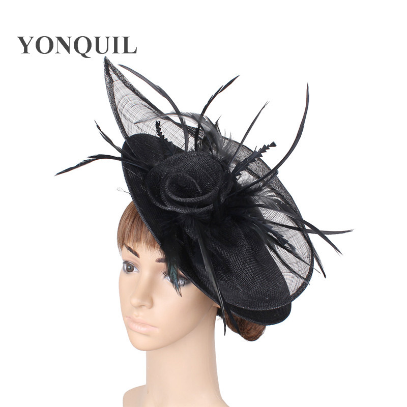 Black derby women big hat chapeau hair pin floral handmade fashion fascinator with fancy feather lady elegant occasion millinery