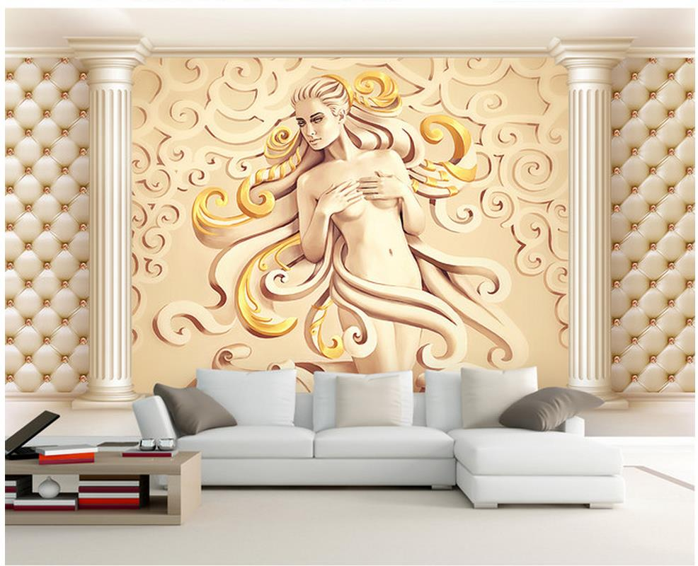 Modern European 3D stereo Roman column TV background wall custom ...