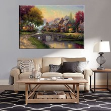 Hot Sale Thomas Kindate Country Cottage Cobblestone Bridge Landscape Prints Canvas Home Wall Art Decor Frameless High Quality цена 2017