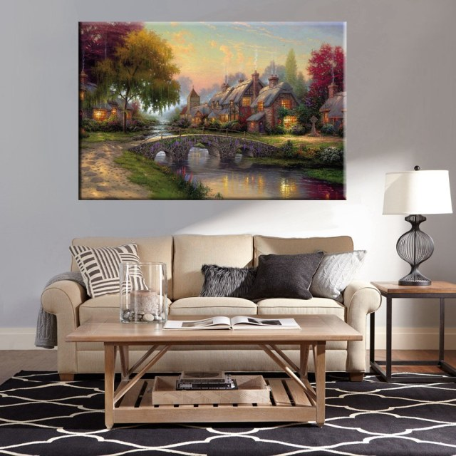 Wall Art Canvas Printed Country Cottage Cobblestone Bridge Landscape Picture Home Decor Painting For Bedroom Office