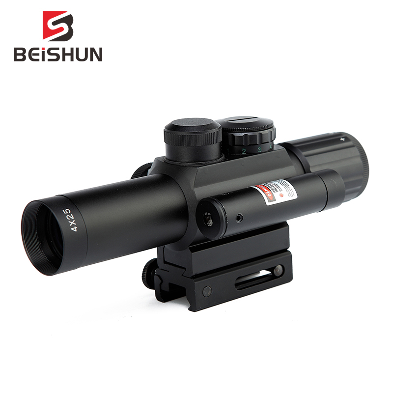 M6 Tactical 4X25 Red/ Green Riflescope Mil-Dot Scope & Red Laser Sight 20mm Picatinny Rail Hunting Airsoft Hunting Scope