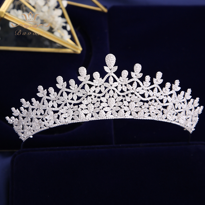 Top Quality Royal Queen Zircon Brides Tiaras Crowns European Silver Crystal Hairbands Wedding Hair Accessories Prom