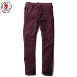Image 4 - Fredd Marshall 2017 New Fashion Solid Color Patchwork Washed Casual Pants Men Straight Cotton Pants Brand Man Long Trousers 3513