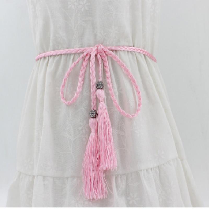 Helisopus新しいウエストロープ女性編み織りウエストベルト女性すべてのマッチ結び目装飾ウエストチェーンタッセルウエストバンド