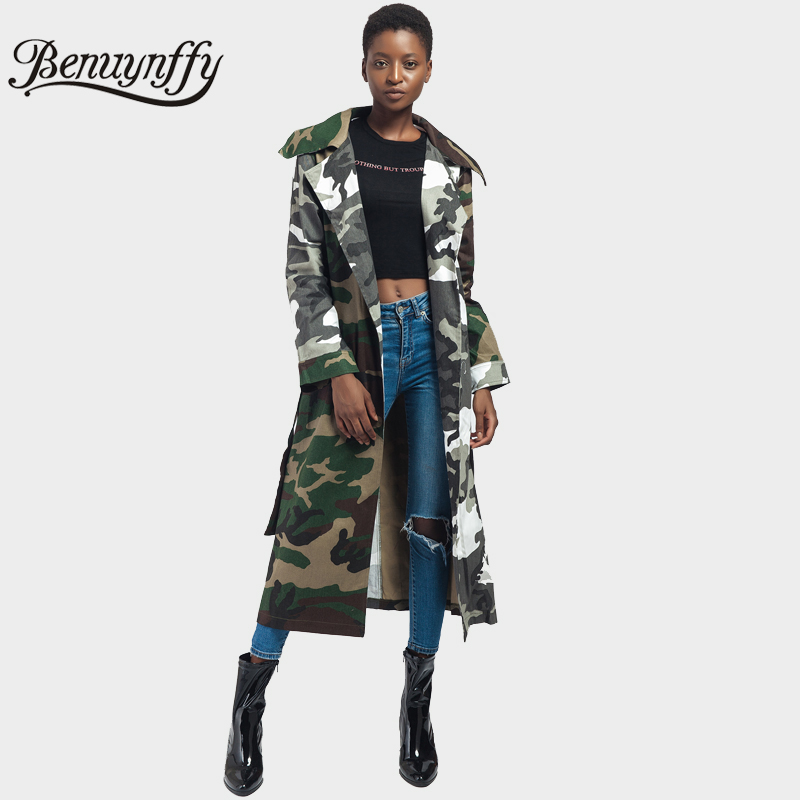 Benuynffy Army Green Camouflage Print Tie Waist Long Coat Autumn Women Highstreet Casual Outerwear Ladies Open Front Lapel Coats