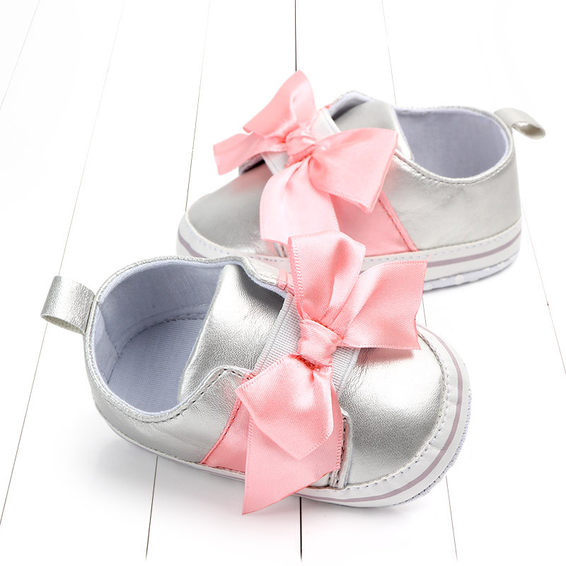 Newborn Baby Girls Glitter Style Princess Shoes First Walkers Sequins Bownot Baby Moccasins Soft Sole Infant Toddler