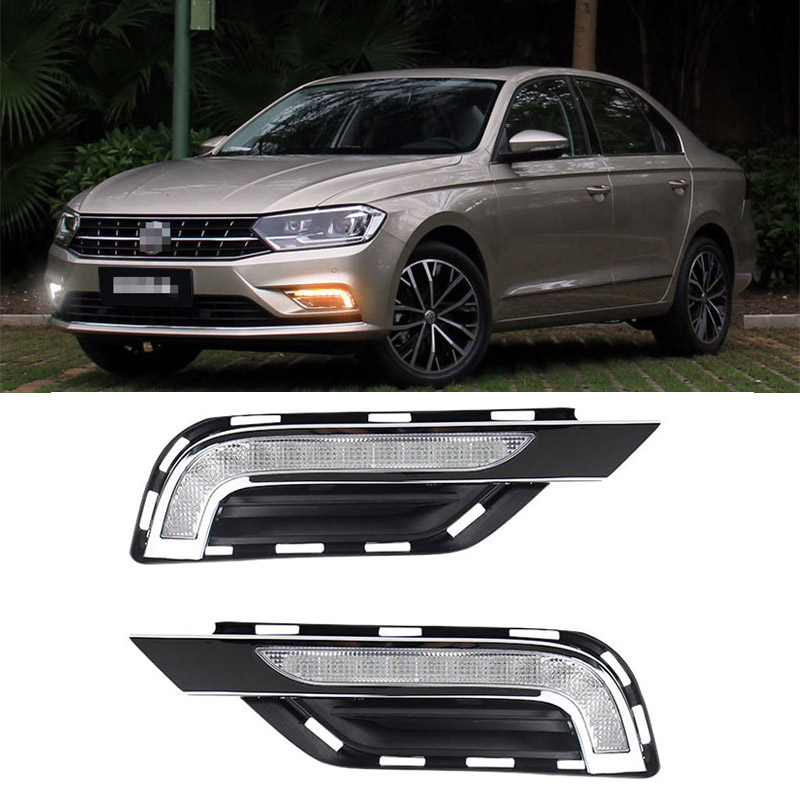 For VW Bora 2016 2pcs LED DRL Daytime Running Lights with Yellow Turning Signal vw bora выпускной коллектор
