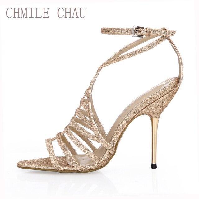 a375fb9f852db6 CHMILE CHAU Glod Glitter Sexy Wedding Bridal Shoe Women Stiletto Iron High  Heel Gladiator Rome Lady Sandal Zapatos Mujer 3845C-4