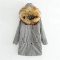 Corduroy Outerwear Winter Jacket Woman 2017 Big Fur Hooded Military Parka Loose Rabbit Fur Liner Cotton