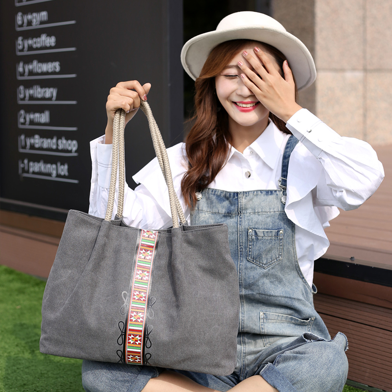 7d94d0abf814 PILER Canvas Simple Shoulder Bag Ladies Fashion Handbag Women Shopping Tote  Bags Female Party Handbags Casual Large Printed Bag-in Shoulder Bags from  ...
