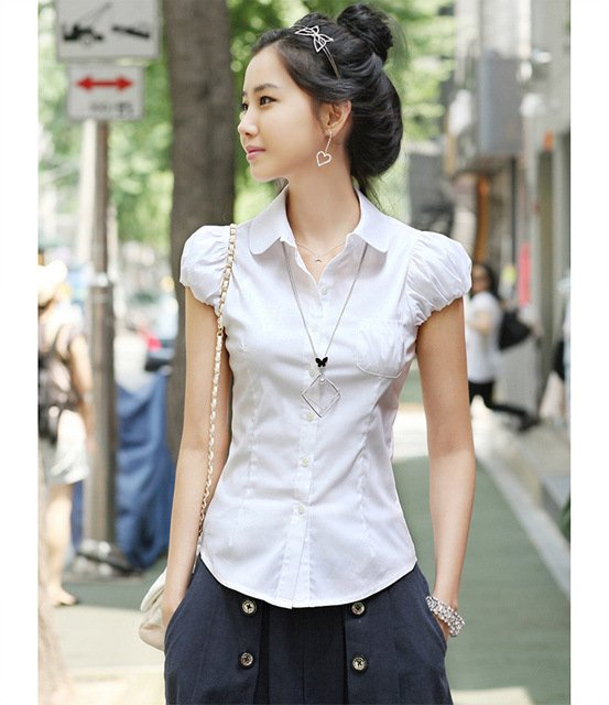 Hot sale.Wholesale fashion ladies blouse.Beautiful white ...