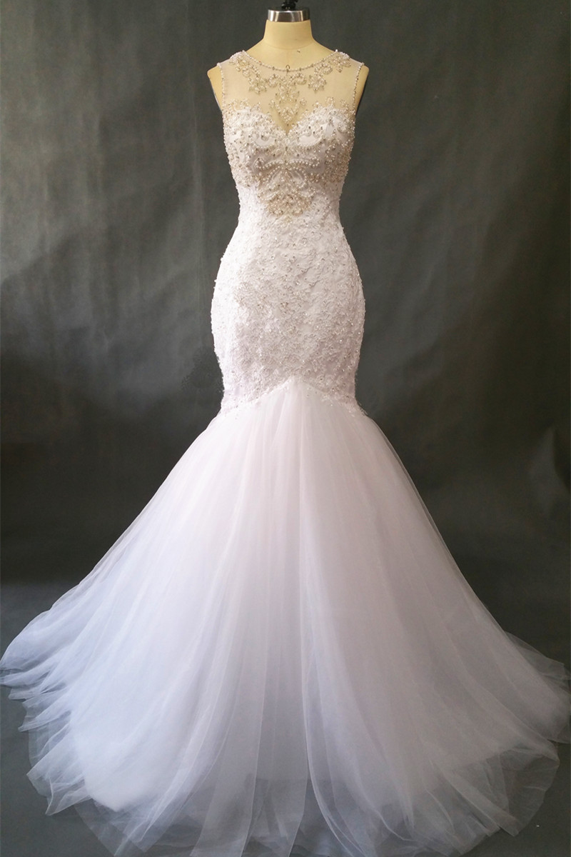 Vintage Lace Pearls Beading Mermaid Wedding Dress