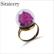 Sitaicery New Metal Womens Rings DIY Handmade Fresh Dried Flower Ring Woman Custom Jewelry Adjustable Female Party Gift