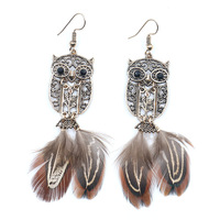 Women Feather Drop Earrings Boucle d'oreille Vintage Feather Animal Shaped Earring Brincos Jewelry Pendientes Bijoux HQEF-060