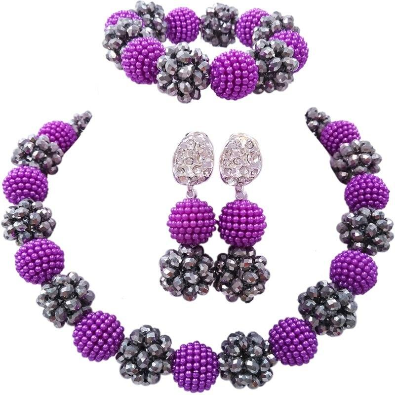 African Nigerian Purple Silver Plated Simulated-pearl Balls Jewellery Sets 1C-SJZZ-26 2016 cross shape rhinestone hollow out silver plated jewellery sets stylish indian wholesale fashionable jewellery sets