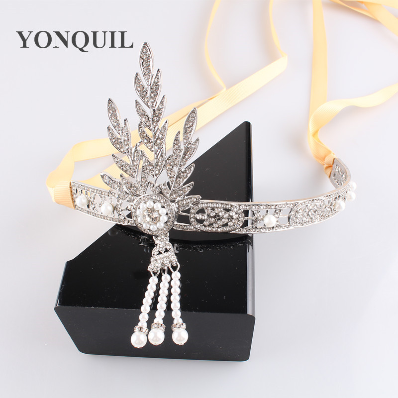 Artistic The Great Hair Accessories Crystals Pearl Hair Headband Hair Jewelry Wedding Tiaras and crowns MYQC009