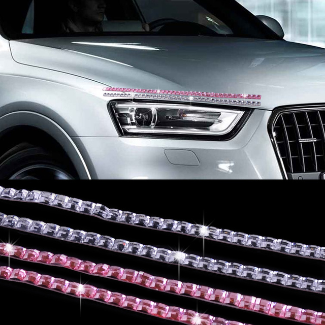 T0# 2PCS Car SUV Cubic Crystal Lashes Headlight Eyelashes Eyeliner Sticker  Acc Decor For BMW