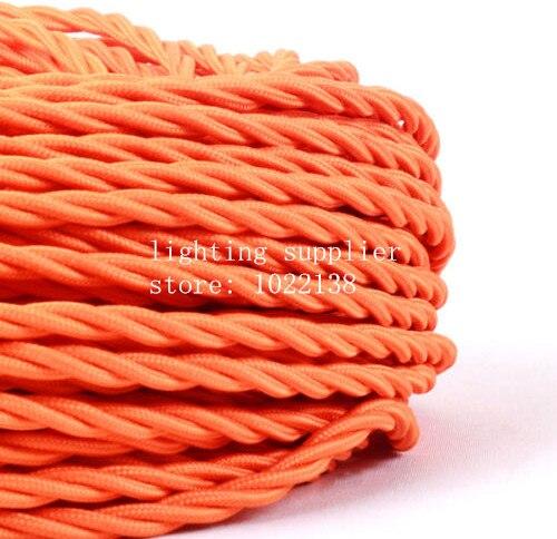 3 noyaux différentes couleurs tressé textile tissu câble 3*0.75mm tissu enduit silicone câble bricolage vintage pendentif lampe tissu fil - 5