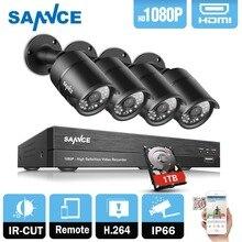 SANNCE 4CH 1080P CCTV System 2400tvl AHD DVR 4pcs 2.0MP Security cameras 4 channels 1080P Video Surveillance kit 1TB HDD