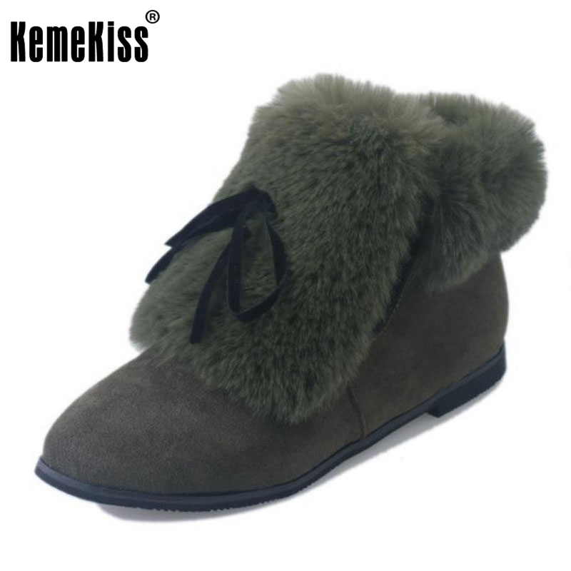 KemeKiss Women Half Short Boots Thick Fur Shoes For Cold Winter Botas Bowtie Flats Boots Warm  Botas Women Footwear Size 35-39
