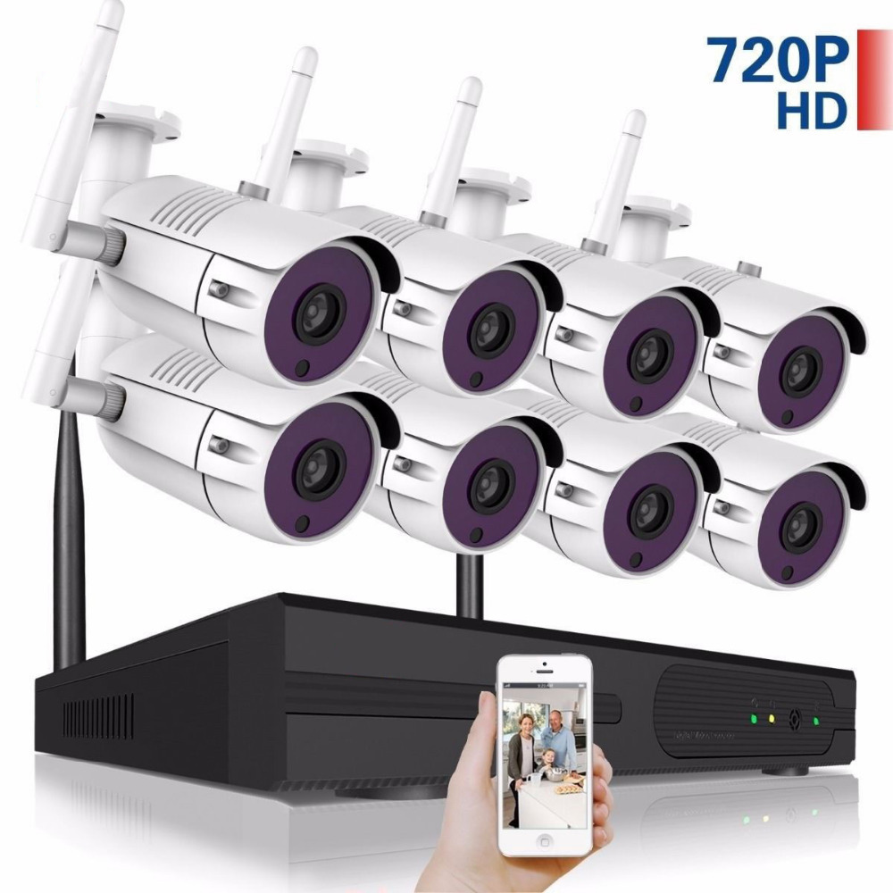 8CH Wireless CCTV System 720P HD NVR kit Outdoor IR Night IP Camera wifi Camera Security System Surveillance Kits cedric charlier бермуды