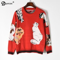 JOYDU Brand Designer Funny Tops Lady's Sweater 2018 New Sweet 7 Cats Pattern Long Sleeve Red Knit Pullover Chic Women Jumper