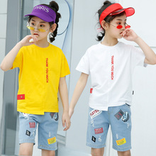 kids clothes Girls summer suit 2019 fashion new short-sleeved T-shirt cartoon denim shorts girls