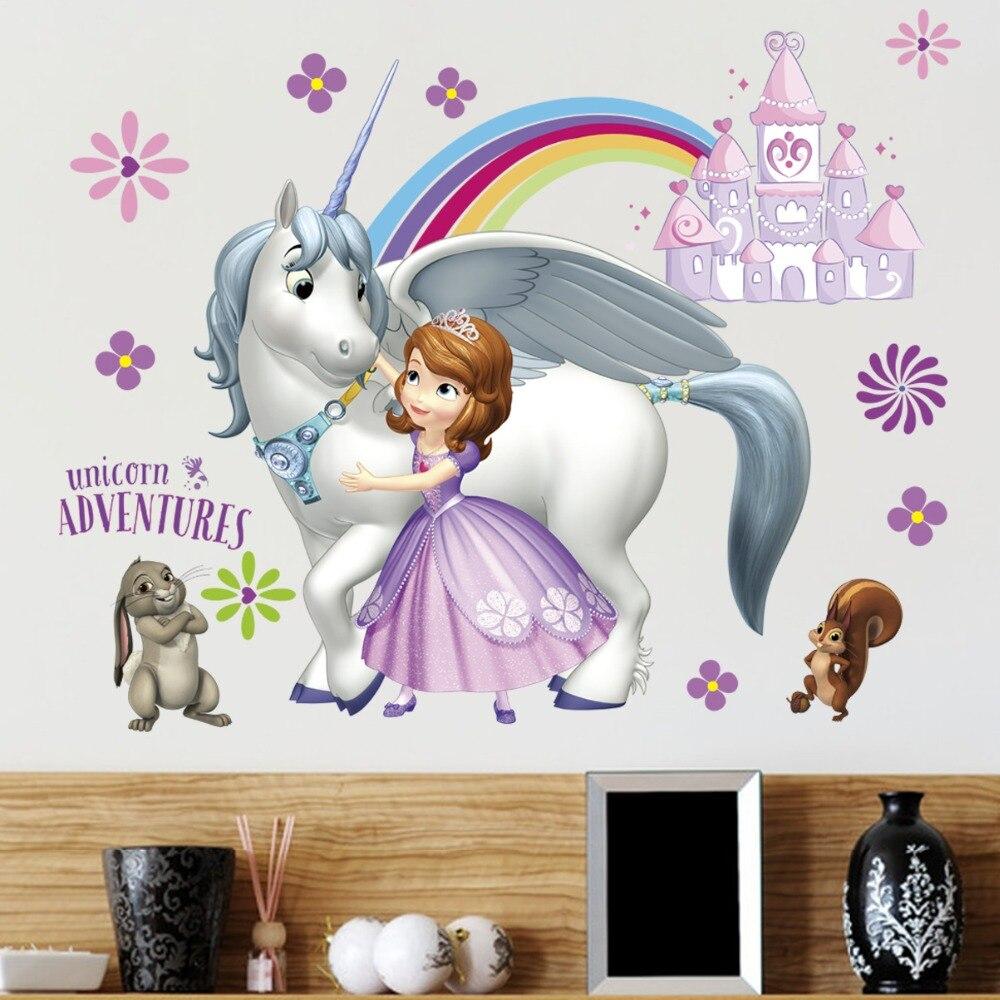 Funny Castle Unicorn Rabbit Princess Sofia pegatinas de pared para niños niña niños DIY regalo decoración calcomanías autoadhesivas póster Mural DIY barbería tienda reloj gigante de pared con efecto espejo Barbero herramientas kits reloj decorativo sin marco reloj peluquero Barbero arte de pared