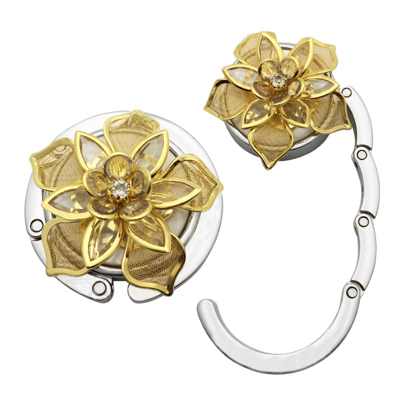 Golden Flower Pattern Round Foldable Table Hook Hanger Storage Holder With Non-Slip Rubber Backing New 0259