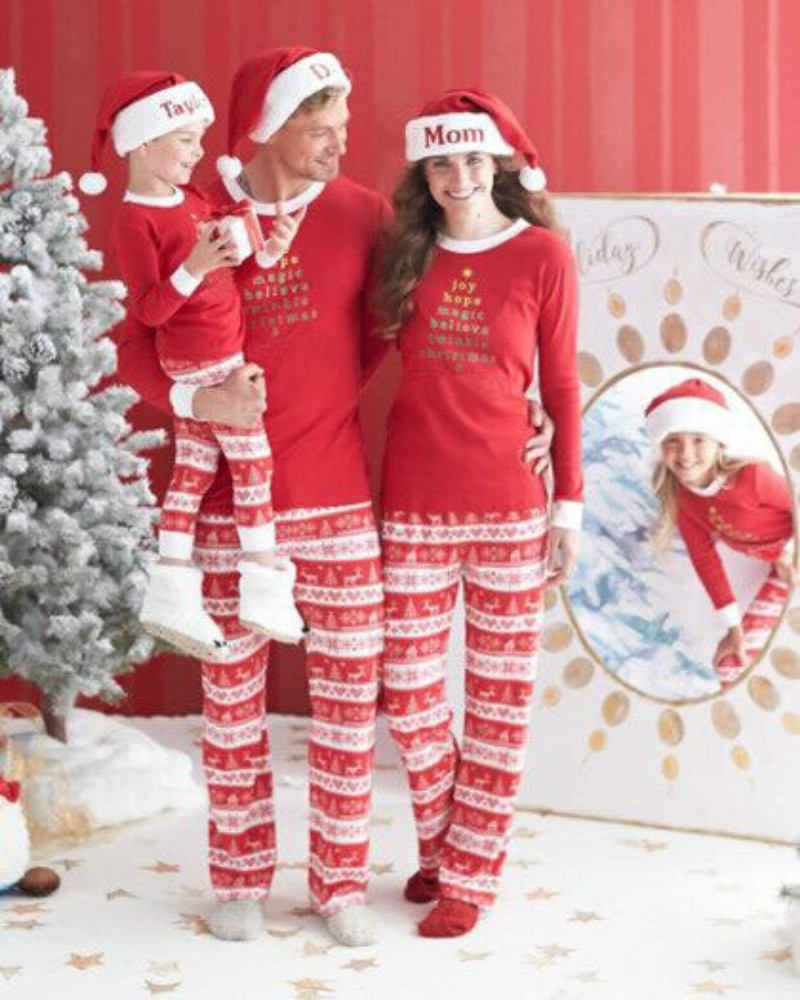 0e9fb321f5 Green Red Christmas Pjs Family Matching Clothes Sets Men Women Sleepwear  Home Match Father Me Daughter Mother Son Family Pajamas