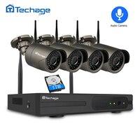 Techage 4CH 1080P Wireless NVR Kit 4PCS 2MP Outdoor Waterproof Security IP Camera IR Night Vision