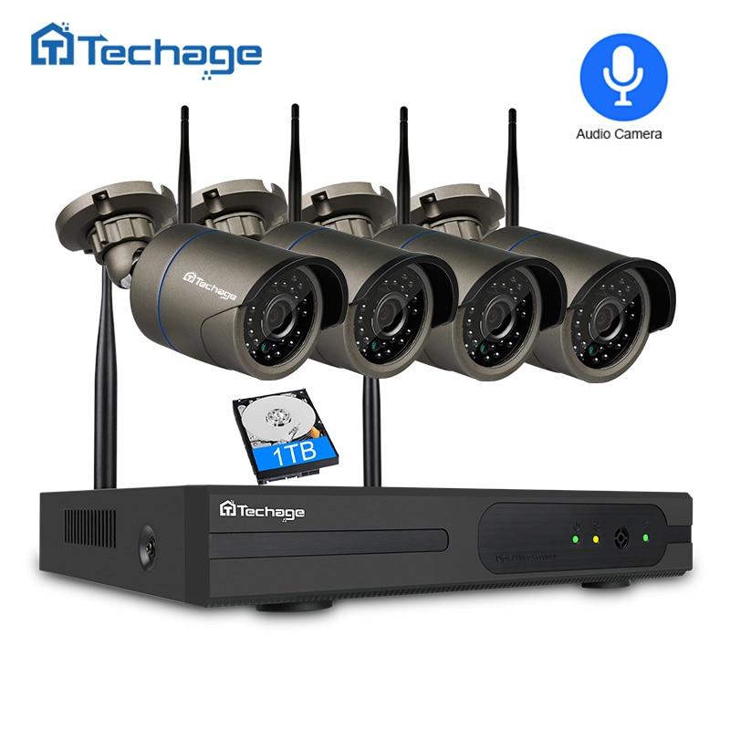 Techage 4CH 1080P Wireless NVR Kit Wifi CCTV Camera System 2MP Outdoor Security Audio Record Sound Camera Video Surveillance Set