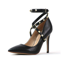 Рони Bouker Бесплатная доставка пикантные ботильоны с заклепками Офисные женские туфли обувь из натуральной кожи на высоком каблуке с острым