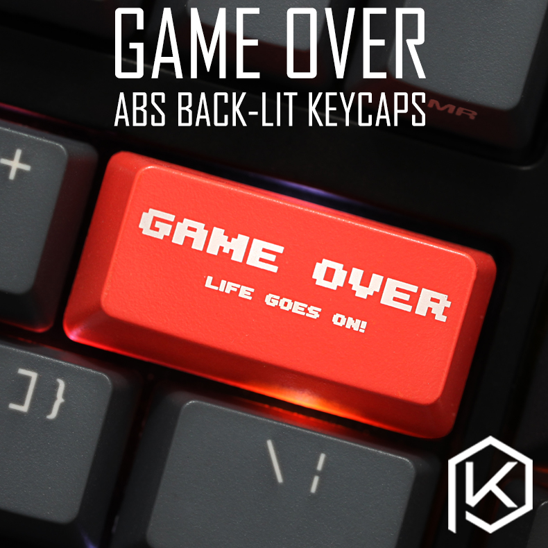Novelty Shine Through Keycaps ABS Etched, Shine-Through Game Over Black Red Custom Mechanical Keyboard Backspace