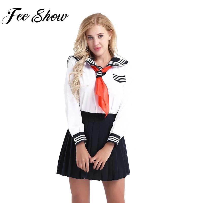 Women High School Girl Costume Mini Skirt Tie Outfit Halloween Cosplay Uniform