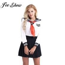 a610b7d8c4 Japonés mujeres y niñas Cosplay Sailor uniforme escolar traje camisa con Falda  plisada y pañuelo Inglaterra