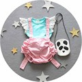 Set 2016 bebê verão conjunto de roupas meninas rendas T-shirt + Macacão 2 pcs terno do bebê roupas de recém-nascidos