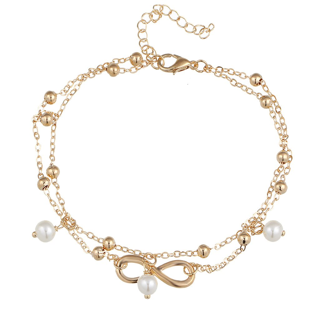 New Summer Vintage Foot Jewelry 8 Chain Simulated-pearl Anklets Women Gold Color Fashion Ankle Bracelet For Leg Beach Jewelry 3