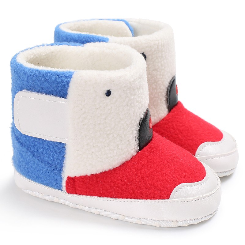 2017 Newborn Kids Autumn Winter Warm Fashion Splice Color Boys Girls Toddler First Walkers Cack Baby Shoes J2