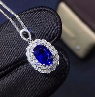 Fine Jewelry Real Pure 18 K White Gold AU750 100% Natural Royal Blue Sapphire Gemstones 1.52ct Pendants for Women Necklace