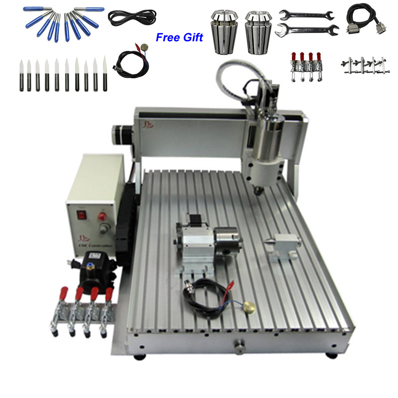 4 Axis 800W USB CNC Engraving Machine 6040 0.8KW CNC Cutting Milling Machine With ER11 Collet Drill Bits