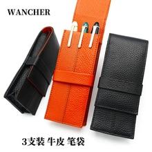 Wancher caso de caneta de couro genuíno 3 caneta titular bolsa manga lápis saco