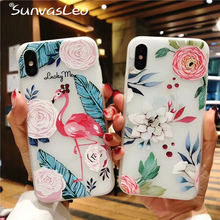 For iPhone 6 6s Plus Case 3D Emboss Flamingos Fancy Soft Silicone TPU Cover Shell Skin iPhone7 7Plus 8 8Plus X